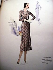 "Antiques Delicious Rare Large 1931 Art Deco ""creations De Paris"" Women's Fashions/ 40 Color Plates*"