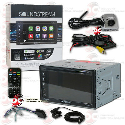 "SOUNDSTREAM 6.2/"" APPLE CARPLAY CD BLUETOOTH RADIO BLACK KEYHOLE BACKUP CAMERA"