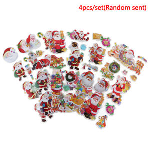 4Pcs-set-3D-Santa-Claus-Stickers-DIY-Waterproof-Children-Christmas-Gi-BX