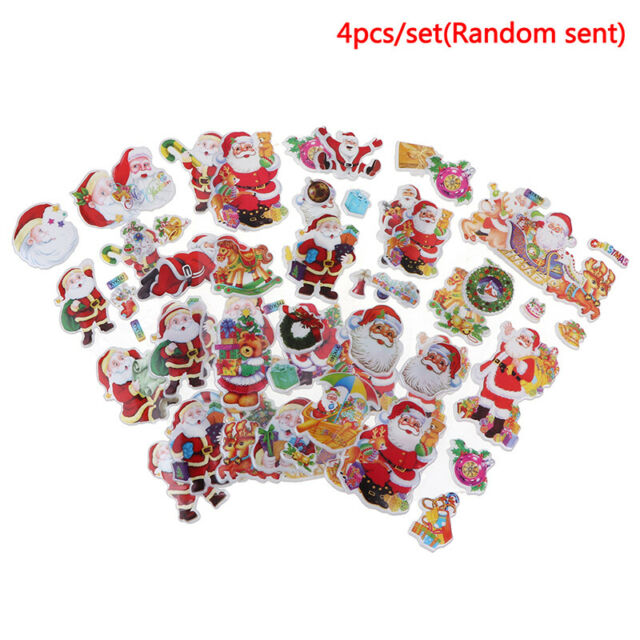 4Pcs/set 3D Santa Claus Stickers DIY Waterproof Children Christmas GiPY