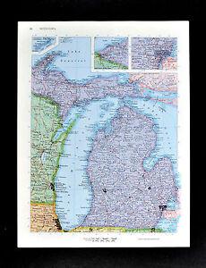 c1970 McNally Cosmo Map - Michigan - Detroit Windsor Grand Rapids Lake Huron