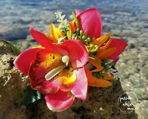 Tropical Hair Clip Pink Wedding Bridal Silk Flower Hawaiian Hawaii Large Prom 3