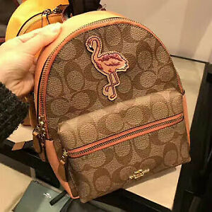 Coach-Authentic-Mini-Charlie-Backpack-In-Signature-Canvas-With-Flamingo-Patch-F2