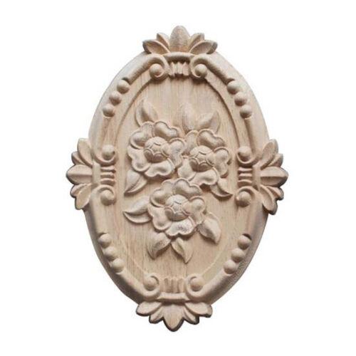 Retro Wood Ornament Applique Carving Ornament for Cabinet Door Furniture V4 E8F1
