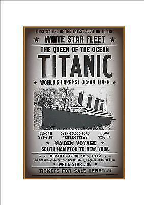 estilo vintage Titanic Cartel Reproducción de cartel Titanic anuncio Letrero de metal