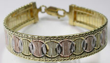 Bracelet  Italian Tricolor Sterling Silver Vermeil & Rose Gold