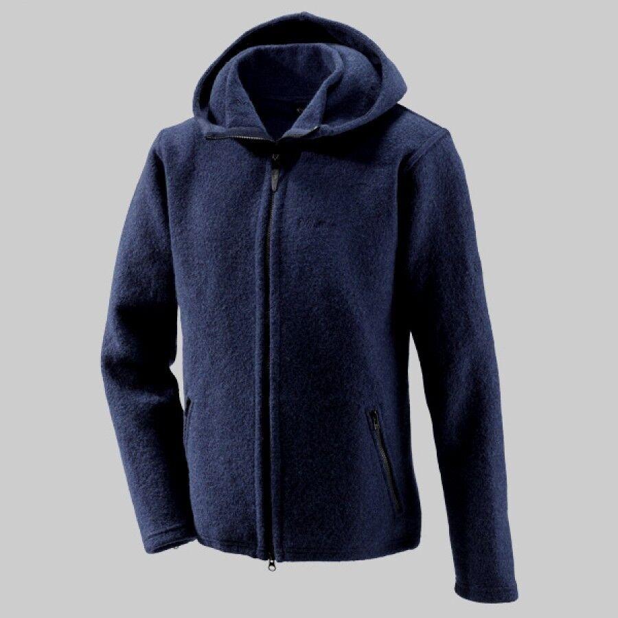 Mufflon Joe Men's Woollen Cardigan with Hood W100 Merino Wool Night bluee