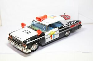 ASC-Toys-Japan-Ford-Galaxie-Police-Car-With-Working-Siren-Excellent-Tinplate
