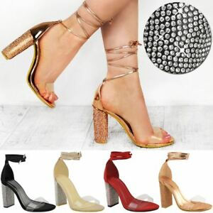 9d7ed39b0a Image is loading Womens-Ladies-Diamante-Block-High-Heels-Sandals-Lace-