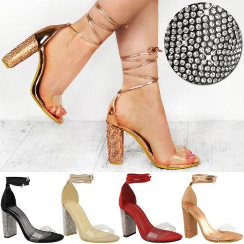 Da Donna con Diamante Blocco Tacchi Alti Sandali Stringati Perspex Cinturino Scarpe Taglia