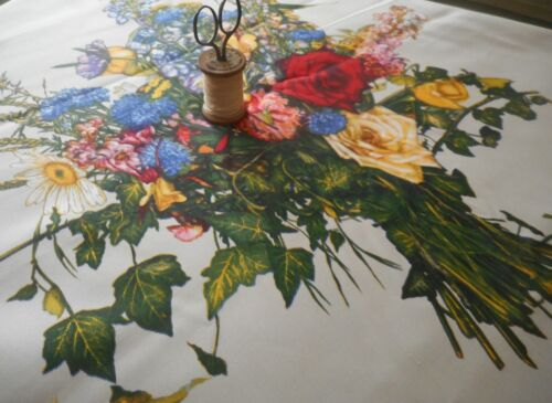 Stunning Vintage 50/'s French Floral Cotton Sateen ~ Red Yellow Blue Gray~Boussac
