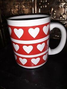 Vintage Valentines Red Heart Coffee Mug Cup