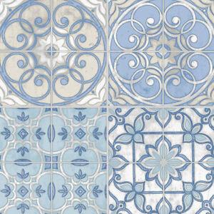Wallpaper-Designer-Blue-Beige-Gray-Eggshell-White-Faux-Encaustic-Spanish-Tiles