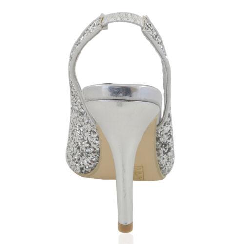 Femme Stiletto Haut Talon Brillant Femmes Bride Arrière Mariage Bal Sandales Chaussures