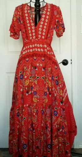 Jaase Women's red boho maxi dress small flowy colo
