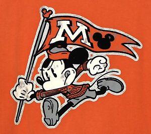 Disney-Parks-Mickey-Mouse-Vintage-Style-2-Sided-T-Shirt-Medium-Orange-Distressed