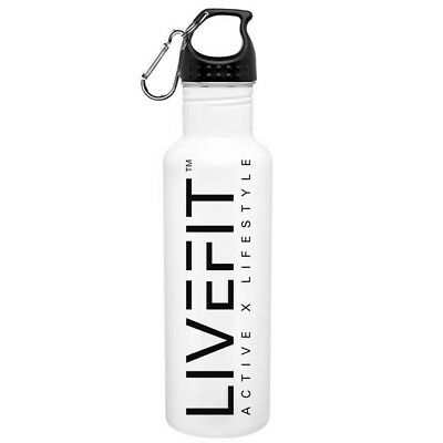 Live Fit ™ White Stainless Steel Water Bottle 24oz - Gym Fitness Weights Yoga