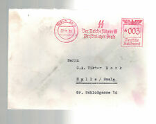 1939 Berlin Germany Reichsfuhrer SS Meter Cover to Halle