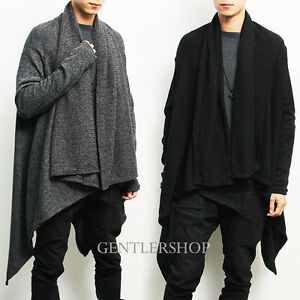Avant-garde Mens Fashion Draping Shawl Knit Long Cardigan ...