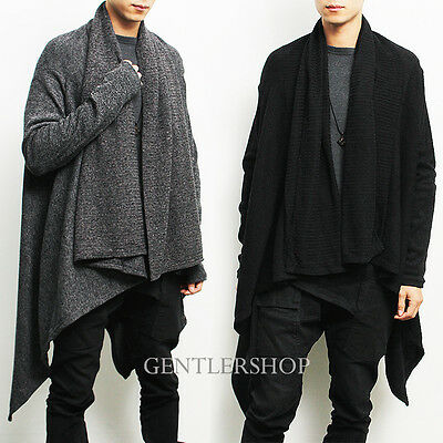 Avant-garde Mens Fashion Draping Shawl Knit Long Cardigan, GENTLERSHOP