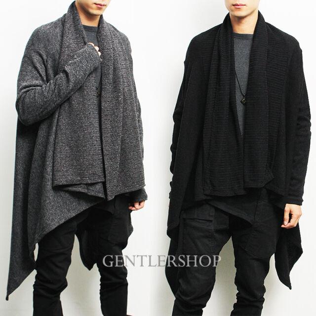 Avant-garde Mens Fashion Draping Shawl Knit Long Cardigan, GENTLERSHOP