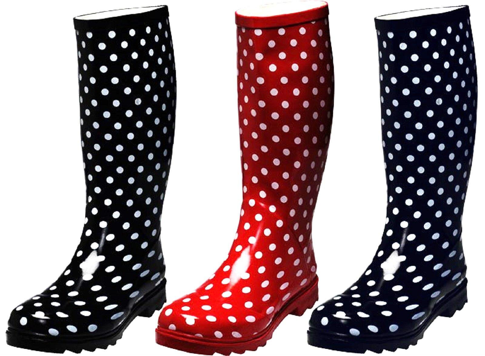 Damen Gummistiefel Regenstiefel Punkte Blau Schwarz Rot Gr. 36,37,38,39,40<wbr/>,41