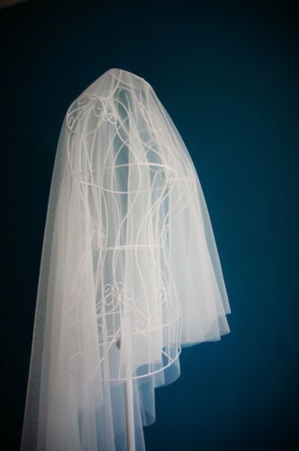 Drop Veil *Floor//Chapel //Cathedral Length*Off White//Ivory*Cut Edge*
