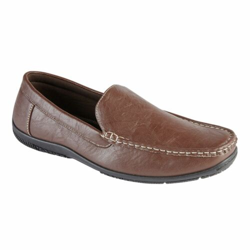 Mens Casual Leather Shoes Slip On Casual Work Moccasin Loafers