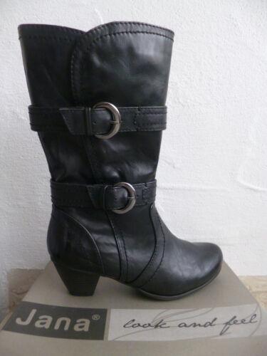 Jana señora botas botines botín negro, nuevo!