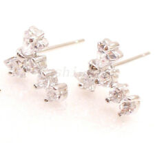 fashion1uk White Gold Plated Clear Simulated Diamond Dragonfly Stud Earrings