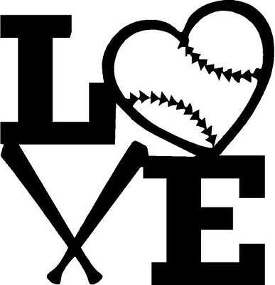 Love With Heart Baseball And Bats Vinyl Decal Sticker Ebay