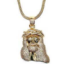 "18k Gold Plated 1.5"" CZ Mini Jesus Piece Pendant w 32"" Franco Chain High Quality"