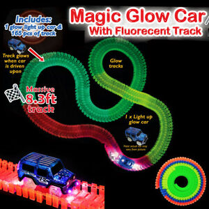 Magic tracks glow in the dark led light up race car flexible track image is loading magic tracks glow in the dark led light mozeypictures Image collections