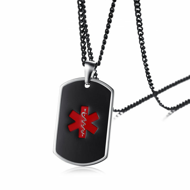 New Stainless Steel Zodiac Dog Tag Pendant Men S Women S: SOS Medical Alert ID Name Dog Tag Men Women Necklace