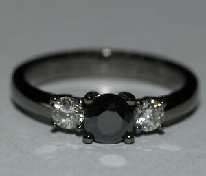 Diamant Brillant Ring schwarzer und weiße Diamanten 0,75 ...