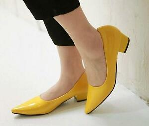 Womens-Candy-Colors-Low-Heels-Pointy-Toe-Ladies-Patent-Leather-Shoes-Pumps