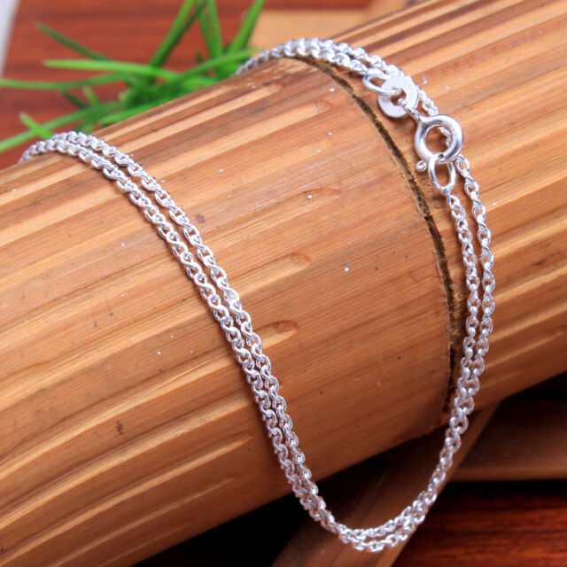 Solid silver Link Long chain Unisex necklace 925 Sterling Silver jewelry 22