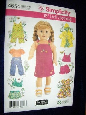 "18"" DOLL NEW Simplicity 4654 Heigl Pattern Summer Clothes Fits American Girl"