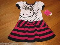 Girls youth Hello Kitty Dress 5 HK57738  Stripe black pink white NWT ^^
