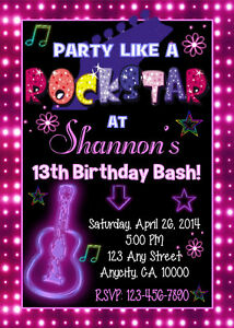 Details About Rock Star Teen Girl Neon Glow Custom Birthday Party Invitation Ty Card U Print