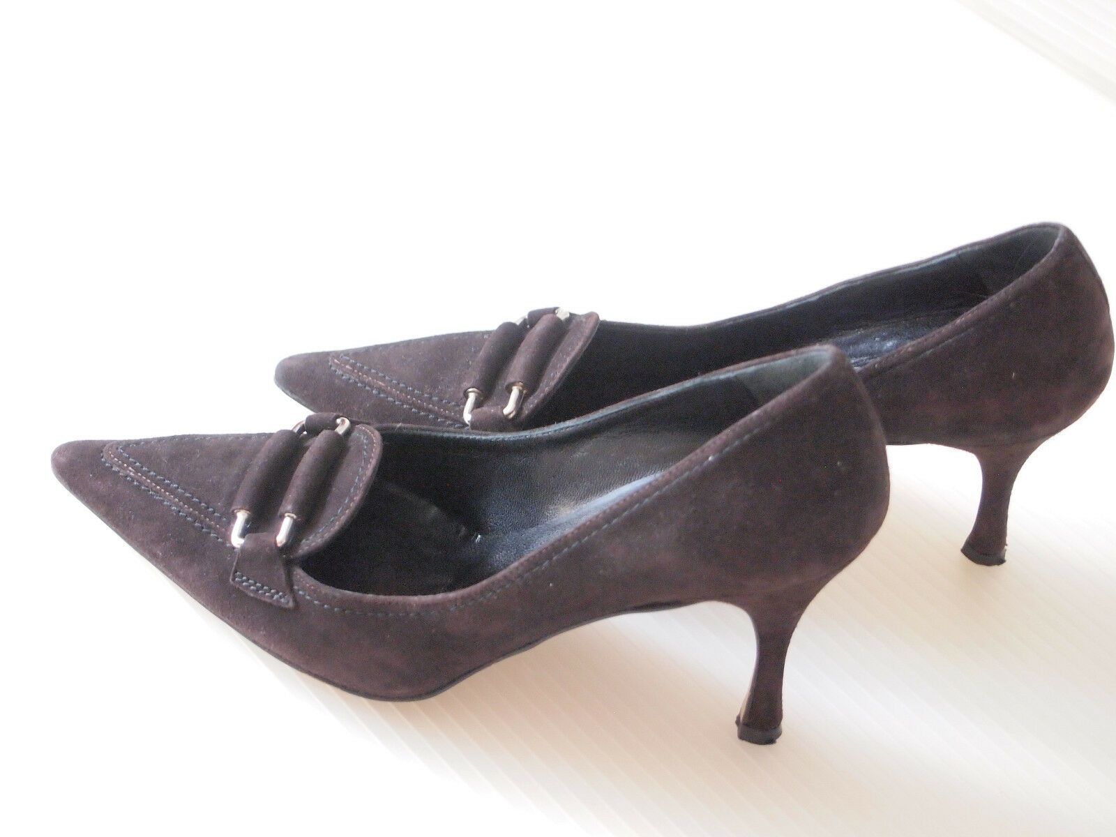 CLAUDIA CLAUDIA CLAUDIA CUITI, MADE IN ITALY Brown Suede Leather High Heels Pumps, Size 7 M 421bde