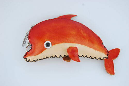 Genuine Leather Zip Coin Purse Handmade Dolphin Fish Keychain Wallet Cardholder