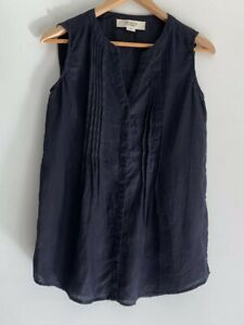 JACQUI-E-Linen-Collection-Button-Front-Navy-Top-Size-8-10