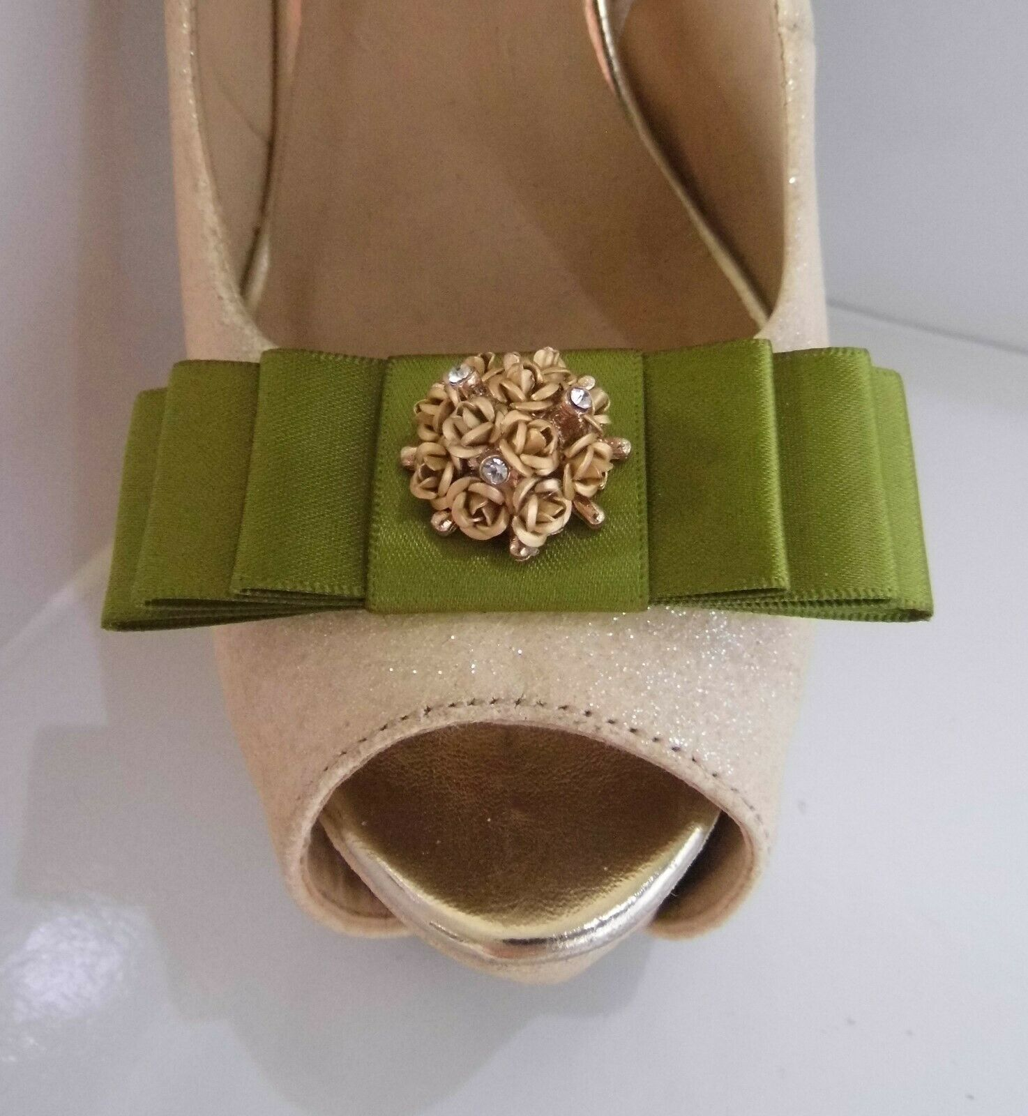 2 Moss Green Bow Clips for Shoes with Gold Flower Cluster & Diamante Centre
