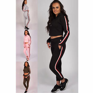 5d2242cea2fc7c Details about Ladies Tracksuit Womens Hooded Crop Top Striped Bottom Lounge  Wear 2 Piece Set
