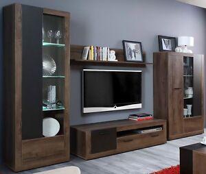 wohnwand trass anbauwand wohnzimmer m bel vitrine tv schrank sideboard ebay. Black Bedroom Furniture Sets. Home Design Ideas