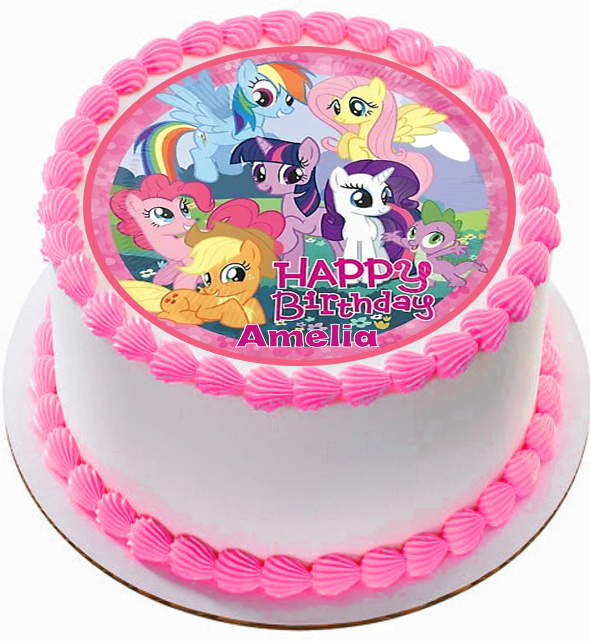 Astonishing Edible My Little Pony Personalized Circle Cake Topper Birthday Personalised Birthday Cards Paralily Jamesorg