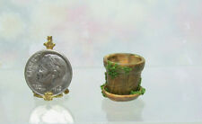 Dollhouse Miniature or Fairy Garden Small Aged Resin Pot with Moss