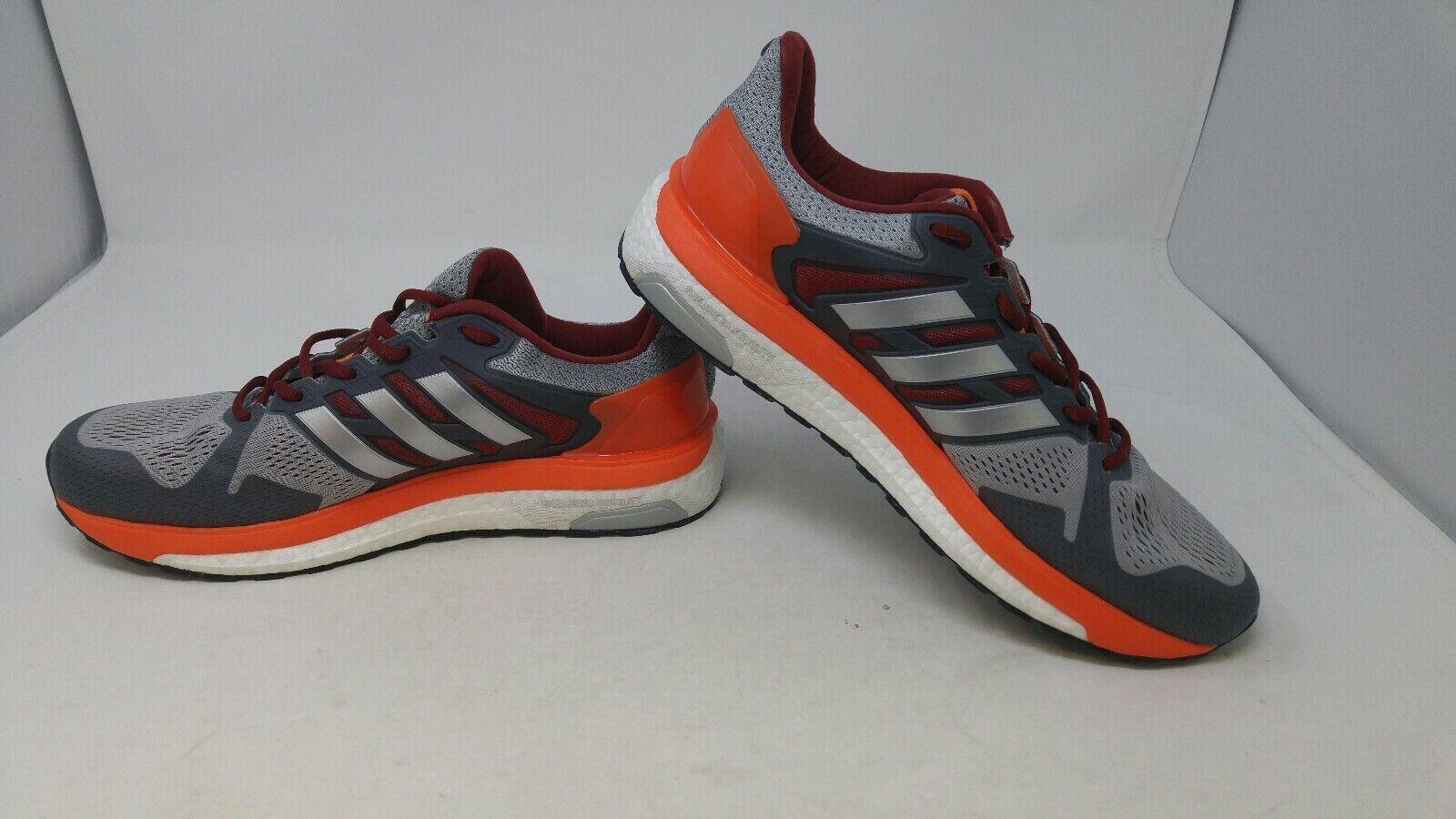 Adidas Mens Running shoes Grey red orange Size 10.5