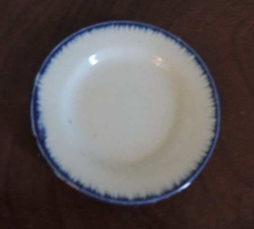 Small Antique Pearlware Cup Plate Leeds Blue Feather Edge 19th c Staffordshire